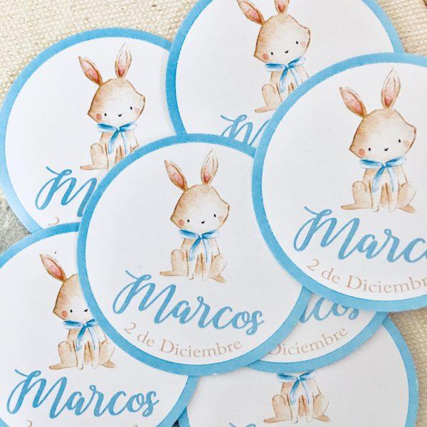 Etiqueta pegatina personalizada Alegna Secret conejo azul