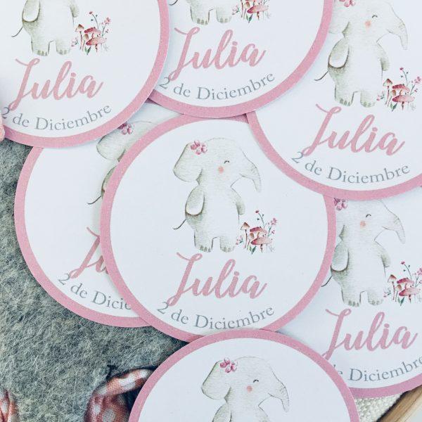 Etiqueta pegatina personalizada Alegna Secret elefante rosa