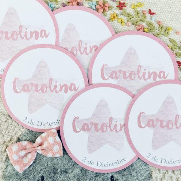 Etiqueta pegatina personalizada Alegna Secret estrella rosa