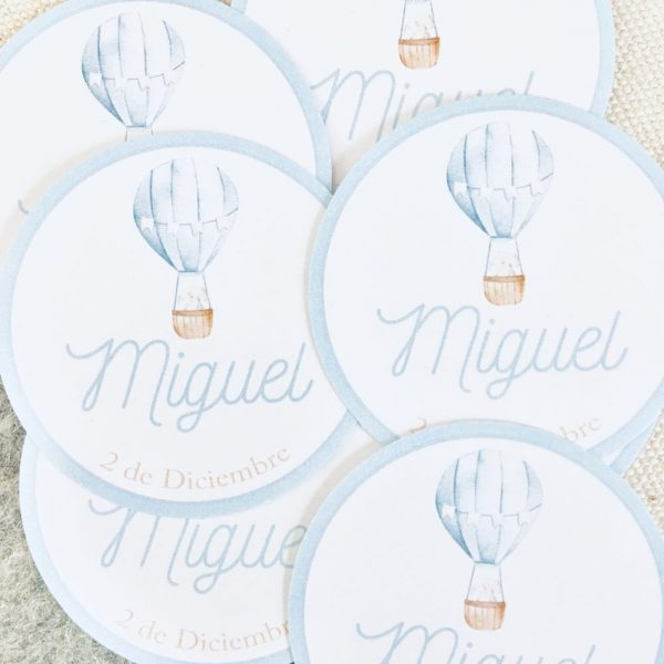 Etiqueta pegatina personalizada Alegna Secret globo azul